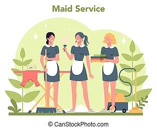 tjeneste, beboelseslejligheden, rensning, klassisk, tjenestepige, kvinde, cleaning.