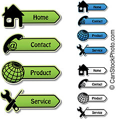 tjeneste, produkt, -, vektor, kontakt, bannere, hjem