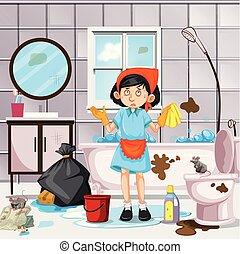 tjenestepige, badeværelse, rensning, tilsmuds