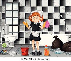tjenestepige, badeværelse, rensning, trætt