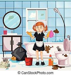 tjenestepige, bekymret, rensning, lavatory