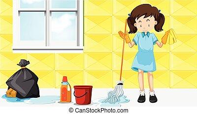 tjenestepige, rensning hus