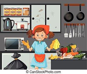 tjenestepige, tilsmuds, rensning, køkken