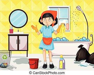 tjenestepige, tilsmuds, rensning, lavatory