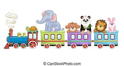 tog, cartoon, dyr