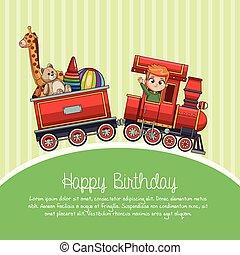tog, cartoon, fødselsdag, glade