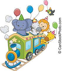 tog, safari, fødselsdag, dyr