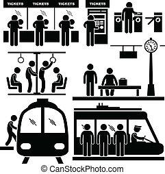 tog station, undergrundsbane, kortrejsende, mand