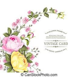 told, rose, hvid, tekst, lyserød, card, white., blomster, invitation, girlande, card., blooming blomstr, skabelon, baggrund., hen, isoleret