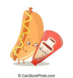 tomat, cute, dansende, sunde, karakter, hund, tango, hede, ketchup
