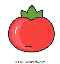 tomat, lejlighed, icon., lineære, concept., editable, isoleret, illustration, vektor, stroke., baggrund, hvid linje