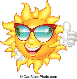 tommelfinger, give, sol oppe, smil, cartoon