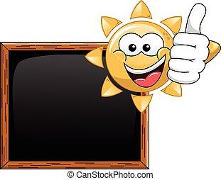 tommelfinger, sol, blank, oppe, sort vægtavle, cartoon