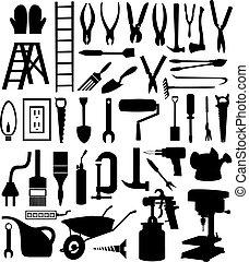 tool., arter, illustration, silhuetter, vektor, adskillige, sort
