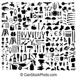 tools., illustration, silhuetter, vektor, adskillige, emnerne