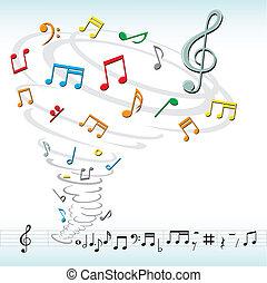 tornado, notere, musik