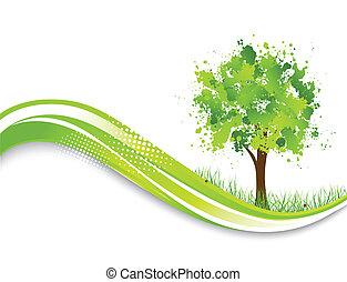 træ, abstrakt, grøn baggrund
