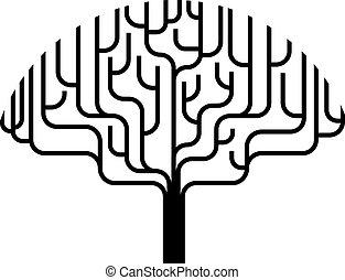 træ, abstrakt, silhuet, illustration