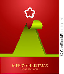 træ, avis, teared, jul, top, stjerne