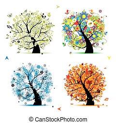 træ, din, forår, winter., årstider, -, efterår, sommer, kunst, fire, konstruktion, smukke