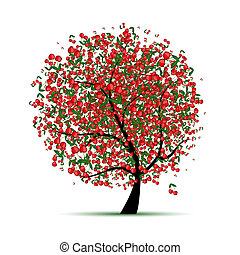 træ, din, kirsebær, konstruktion, energi