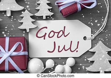 træ, etikette, merry, jul, gave, jul, sneflager, gud, betyder