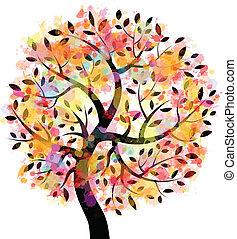 træ, farverig