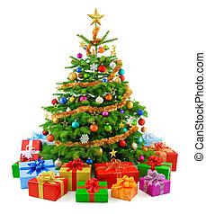 træ, frodig, farverig, g, jul