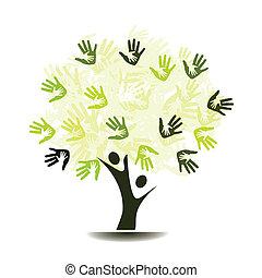 træ, håndflader