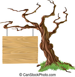 træ, illustration, tegn