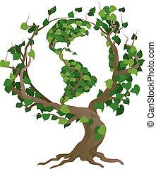 træ, illustration, vektor, verden, grønne