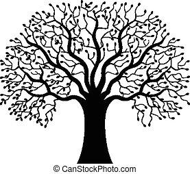 træ, silhuet, cartoon