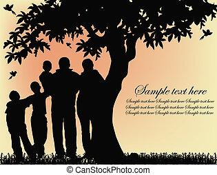 træ, silhuet, folk