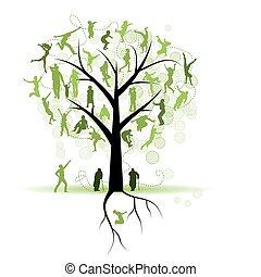 træ, silhuetter, slægtningene, familie, folk
