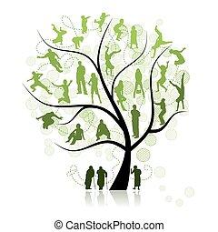 træ, slægtningene, familie