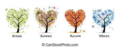 træ, smukke, -, forår, sommer, fire sæsoner, din, konstruktion, kunst, efterår, winter.