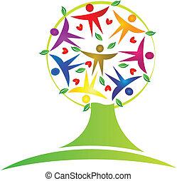 træ, teamwork, logo