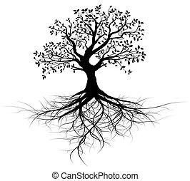træ, vektor, hel, røder, sort