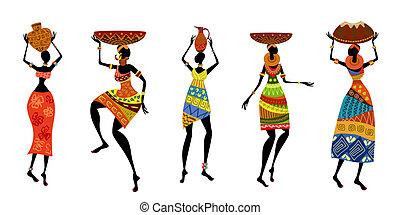traditionelle, afrikansk, klæde, kvinder