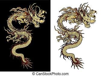 traditionelle, gylden, kinesisk drage