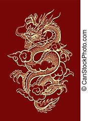 traditionelle, kinesisk, illustration, drage