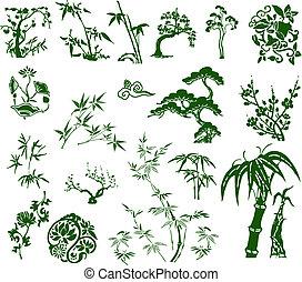 traditionelle, klassisk, bamboo, kinesisk, blæk