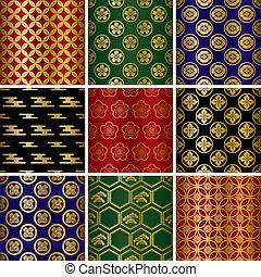 traditionelle, mønstre, sæt, japansk