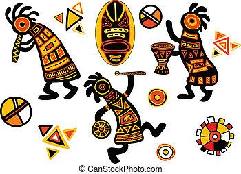 traditionelle, mønstre, vektor, afrikansk