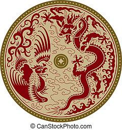 traditionelle, ornamentere, kinesisk
