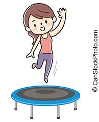 trampolin springe, kvinde, unge
