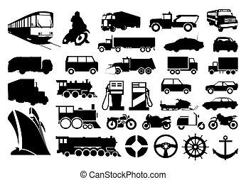 transport., illustration, silhuetter, vektor, adskillige, samling