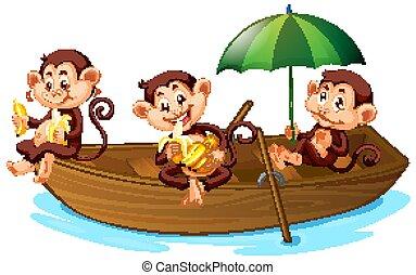 tre, båd, nydelse, banan, aber