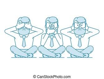 tre, illustration, klog, monkeys.