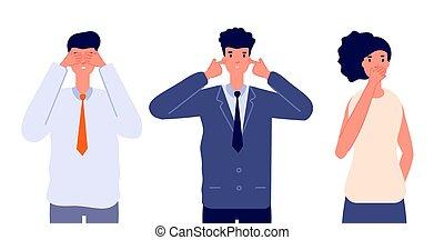 tre, klog, tilsidesæt, eller, vektor, undgå, nej, evil., firma, characters., følelsesmæssige, bogstaverne, folk, tal, onde, afhøre, person, se, utter